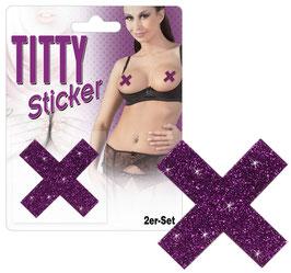 """Titty Sticker """"X"""" Coppia di Copricapezzoli Adesivi Viola o Neri con Glitter a Forma di X"""