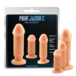 CHISA Backdoor Training Kit Anale di 3 Plug Dildo Anali Flessibili con Base Rotonda in 3 Misure Differenti |CN00032|