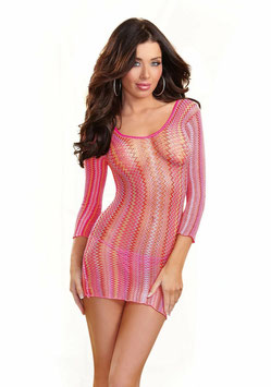 DREAM GIRL Mini Abito a Maniche Lunghe Aderente Stretch Traforato in Rete Rosa Multicolore |DG-0049|