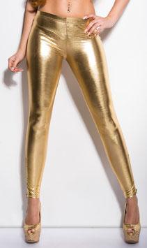 KOUCLA Leggings Aderenti Effetto WetLook Pvc Latex Style Oro Metallico con Cerniere in Basso |LE9067|