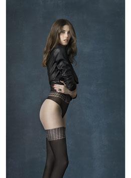 FIORE CITY GIRL 40 DENARI Collant 3D Velato e Coprente con Panty e Disegno Autoreggenti Pied De Poule