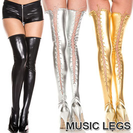 MUSIC LEGS Calze Autoreggenti in PVC Wetlook Lucide con Stringatura Criss Cross Dietro |ML-4888|