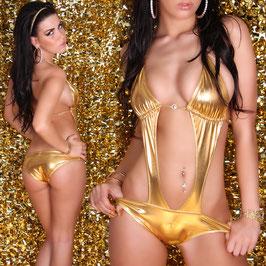 KOUCLA Costume Da Bagno Intero Monokini Oro Metallico Scollato con Strass |DB5|