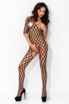 AMAZING GIRL Catsuit BodyStocking Tuta Nera in Rete Traforata a Maglia Larga e Grossa |AG-7048 - LC79642|