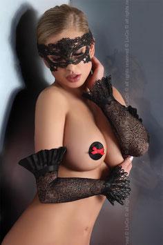 LivCo Corsetti Fashion - Mask Model 4 Sexy Mascherina Stile Barocco Nera in Pizzo Ricamato