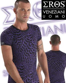 EROS VENEZIANI Uomo Maglietta T-Shirt Leopardata Maculata Viola e Nero |7017|
