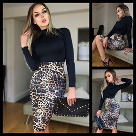 BEATRICE Abito Longuette Nero Aderente a Collo Alto con Gonna in Stampa Animalier Leopardata