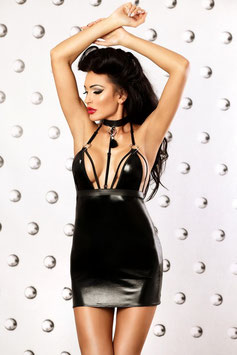 LOLITTA Empire Mini Abito Stringato Nero Lucido in Tessuto WetLook & Ecopelle con Zip Posteriore