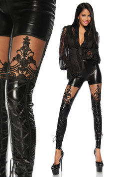 Leggings in Ecopelle con Cuciture Corsetto Stringate e Inserto Velato Arabesco Goth Style |DFG160|