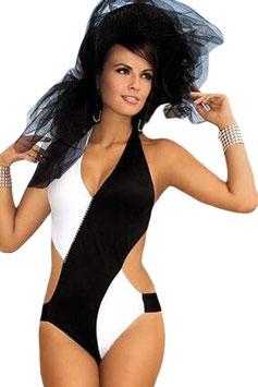 Costume Intero Monokini Bicolore Bianco e Nero con Coppe Push-Up (Imbottiture Sfoderabili) |LC41827|