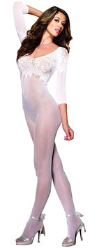 DREAM GIRL Fashion Bodystocking in Rete Bianca Scollata con Decorazioni Floreali |DG-0096|