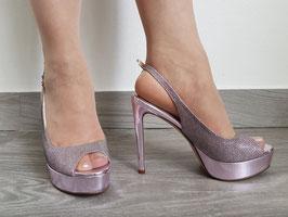 VIA STUDIO Sandali Rosa Chiaro Tipo Chanel in Pelle con Lustrini Rosa Tacco Alto 13 cm e Plateau 3cm |VS-4804|