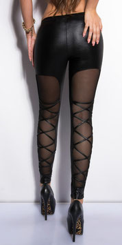 KouCla Leggings WetLook Neri Con Inserto Velato e Criss Cross Dietro |LE18257|