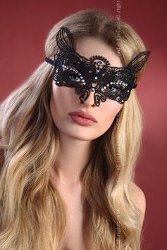 LivCo Corsetti Fashion - Mask Model 6 Sexy Mascherina Stile Barocco Nera in Pizzo Ricamato con Strass