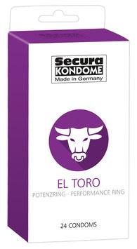 SECURA KONDOME Offerta Stock 24 Profilattici Premium El Toro Black con Anello Fallico |416398|