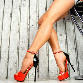 SandalI in Vernice Rosso e Nero Lucida Tacco Alto a Stiletto 14 cm con Plateau 4 cm |66-253|