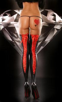 LOLITTA Lacing Stockings - Calze Autoreggenti PVC Nere con Stringhe Dietro |0085|