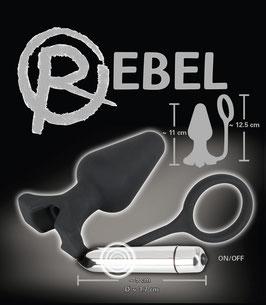 REBEL Vibro Plug Anale Nero Lungo 11 cm con Vibratore Inseribile e Anello Fallico Integrato |0587656|