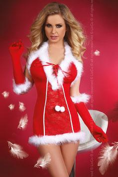 Livia Corsetti Fashion Snow Queen Mini Abito Chemise Natalizio Rosso con Perizoma + Guanti