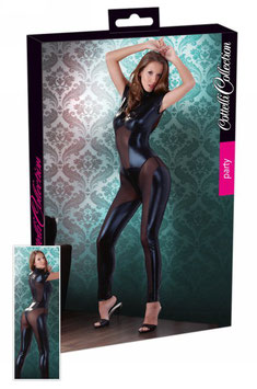 COTTELLI COLLECTION  KIARA Catsuit Tuta Intera Nera con Inserti Velati in Microrete e Lunga Cerniera Zip |2730065|