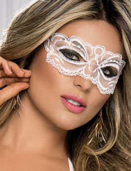 Maschera per Occhi Venezia Style Bianca o Nera in Pizzo Ricamato |C80586|