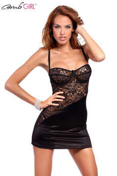 BOMB GIRL Set Chemise TENTATRICE in Satin Nero con Inserti in Pizzo + Perizoma |BB-506|