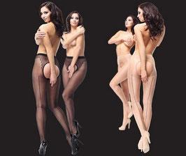 MissO Lusso Collant Lycra Velato 20 DEN Gloss con Riga Dietro a Contrasto Larga Apertura al Pube e Corpino Bikini |P211|