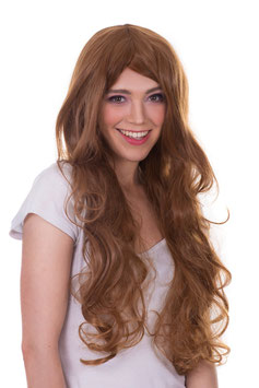 AMAZING GIRL Parrucca Cosplay Anime Manga Capelli Lunghi Mossi Ricci Castano |AG-PER041|