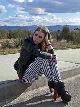Leggings Moda a Strisce Verticali Bianche e Nere |WDBS008|