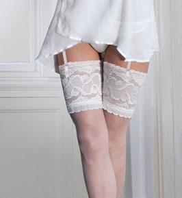 COUTURE Calze da Reggicalze Velate 15 Denari Bianche con Balza Alta 18 cm in Pizzo Ricamato