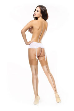 MissO Shiny Stockings Calze BEIGE Velate Lucide Satinate 15 DENARI Balza Classica Alta Liscia e Riga Nera Dietro |S111|