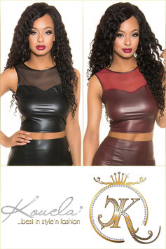 KOUCLA Crop Top Aderente Bordeaux in Tessuto WetLook con Scollatura Girocollo Velata |T9412|