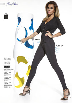 Bas Bleu - ARIANA Leggings Stretch Push-Up Neri 200 DENARI con Cintura e Cerniera Dietro