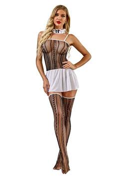 Set Maid La Sexy Cameriera in Rete Top in Rete con Gonnellino Bianco + Calze Autoreggenti + Collare |LC35211|