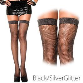 MUSIC LEGS Calze Autoreggenti a Rete Nere Balza Liscia con Glitter Luccicanti Argento |ML-4994|