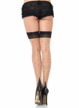 LEG AVENUE Calze Autoreggenti Nude con Pois Balza Tallone Cuban Heel Neri  |LA-1929|