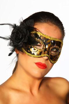 Maschera Venezia Style Nera e Oro con Rosa Nera |11775|