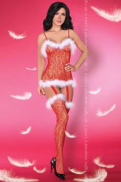 LivCo Corsetti Fashion - CATRIONA Christmas BodyStocking Natalizia Rossa con Marabou Bianco