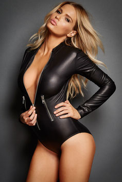 Body Catsuit a Maniche Lunghe Con Cerniera ZIP in Ecopelle Simil-PVC WetLook NERO |LC3259|