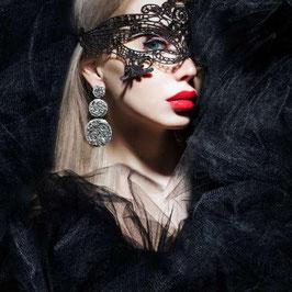 SOISBELLE Maschera per Occhi Venezia Style Nera in Pizzo Ricamato |EM-01072|