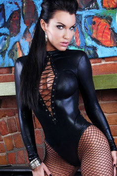 Body Catsuit a Maniche Lunghe Con Apertura e Stringatura Centrale in Ecopelle Simil-PVC WetLook NERO |LC3263|