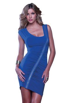 FORPLAY Kresna Sexy Mini Abito Corto Asimmetrico Blu con Drappeggio e Cerniera Zip Diagonale |KOB8009|