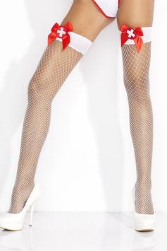 AMAZING GIRL Calze Autoreggenti a Rete Bianche da Infermiera con Fiocco e Distintivo |AG-ST2058|