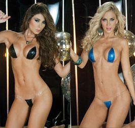 Mini Micro Bikini a Triangolo WetLook Lucido Effetto PVC Nero o Blu Elettrico con Spalline Invisibili |ES-BI|