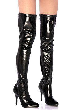 SOIS BELLE SHOES Stivali Alla Coscia PVC VINILE Neri Stretch con Tacco a Spillo 11 cm e Cerniera a Lato |SX301|