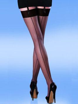 SILKY Nylon Stockings Calze da Reggicalze Velate Nere con Riga Dietro Effetto Vintage |ED060|