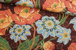 Baumwollstoff Blank Quilting Blumen auf braun