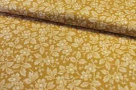 Baumwollstoff Blüten ocker-beige