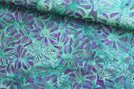 Baumwollstoff Batik Textiles lila Blumen auf türkis