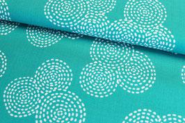 Baumwollstoff Michael Miller Stitch Circle smaragd